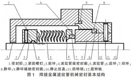 焊接金属波纹管机械密封基本结构